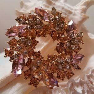 NWT - Pink Crystals Wreath 3-D Brooch